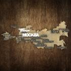 Деревянная карта России с городами KM001