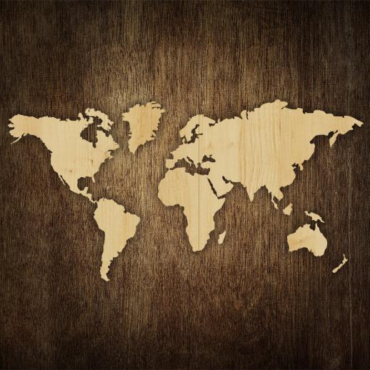 Деревянная карта Мира (силуэт) KM004