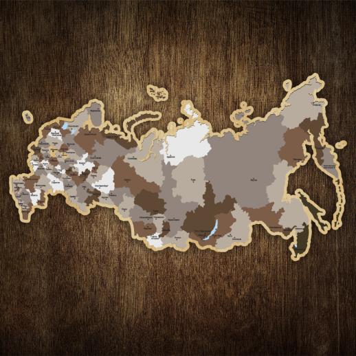 Деревянная карта России с названиями городов (пазл) KM005