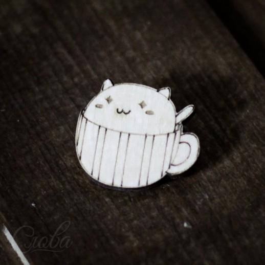 Значок Кот в кружке Z010